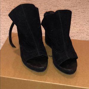 Balenciaga Suede Peep Toe Heels